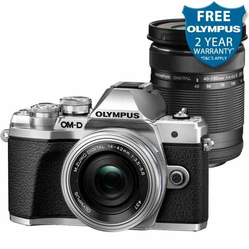 Olympus OM-D E-M10 MK3 with 14-42mm EZ Pancake & 40-150mm R Lenses (Silver)