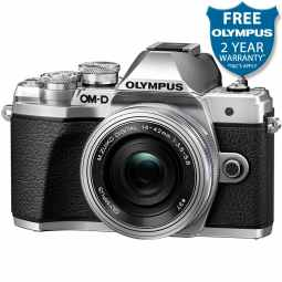 Olympus OM-D E-M10 MK3 Mirrorless Camera with 14-42mm EZ Pancake Lens (Silver)