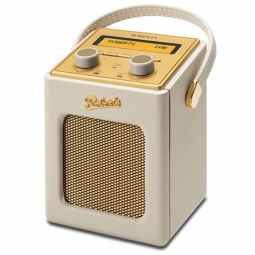 Roberts Revival Mini DAB/DAB+/FM RDS digital radio with built-in battery charger (Pastel Cream)