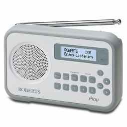 Roberts Play DAB/DAB+/FM RDS digital radio with built-in battery charger (White / Grey)