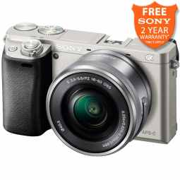 Sony Alpha 6000 Mirrorless Digital Camera with 16-50mm Lens (Silver)